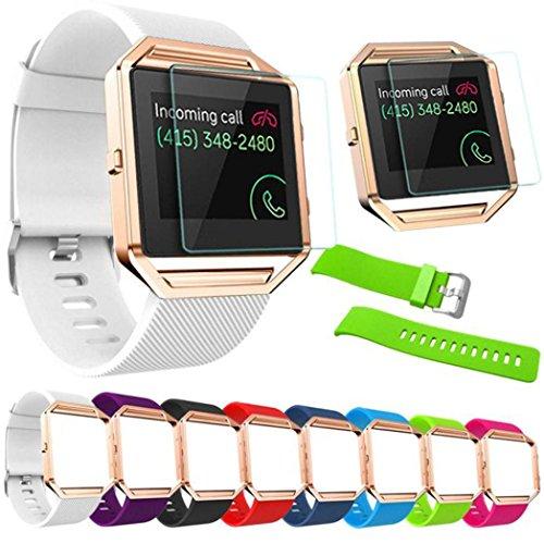 Preisvergleich Produktbild Sansee Soft Silikon Armband für Fitbit Blaze Uhr + Metallrahmen + HD Film (Fitbit Blaze-7984, Weiß)