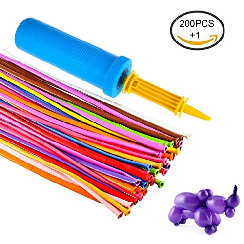 Foonii 200 Pièces ballons de baudruche à modeler multicolores magiques + Pompe à ballon (Random Color)