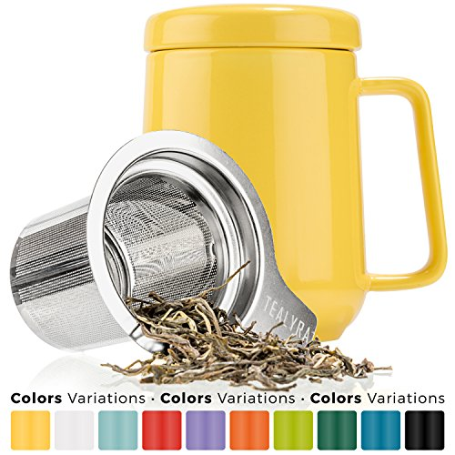 Tealyra - Peak Keramik-Teekanne 480ml - Yellow Tea Cup Infuser - 16-Ounce - Large Tea High-Fired Ceramic Mug with Lid and Stainless Steel Infuser - Tea-for-One Perfect Set for Office and Home Uses (Keramik-teekanne Infuser)