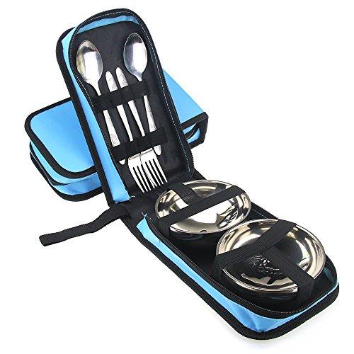 Travelmall 6pezzi in acciaio inox (ciotola, forchetta, cucchiaio), da viaggio e set di posate da campeggio con borsa per il trasporto per 2persone