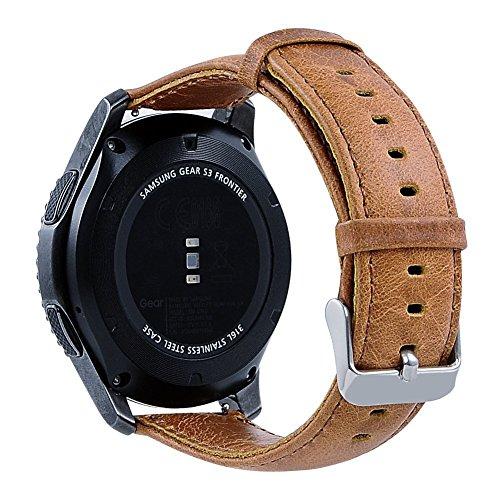 MroTech Ersatzband für Gear S3 Armband, 22mm Lederarmband Uhrenarmband Ersatz Band für Samsung Gear S3 Frontier Classic,Vector Luna,Pebble Time,Moto 360 2nd Gen Mens,LG G Watch und mehr(Brown, L)