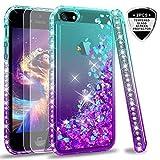 LeYi Coque pour iPhone 5S / Se / 5 avec Verre Trempé [Lot de 2], Fille Personnalisé Liquide Paillette Transparente 3D Silicone Gel Antichoc Kawaii Étui pour Apple iPhone Se / 5S / 5 Bleu Violet