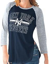 "New York Yankees Women's G-III MLB ""Hang Time"" Dual Blend 3/4 Sleeve T-Shirt Chemise"