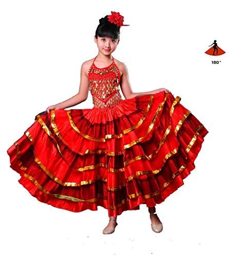 Zigeuner Stil Prinzessin Mädchen Bauchtanz Kostüme Spanisch Traditionellen Flamenco Rock Satin Glatt Plus Size Swing Rock - Zigeuner Kleid Kostüm