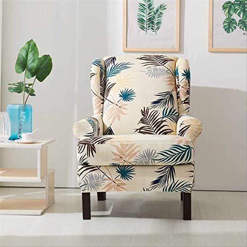 DINDAL Stuhlabdeckung Schrägarm King Back Chair Cover Elastische Sessel Wingback Wing Sofa Zurück Stuhl Abdeckung Stretch andere Gedruckt- Beige