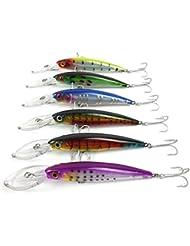 Aorace 6pcs/lot Pesca Deep Sea Fishing Lure Kit de cebo de pesca gancho 2/0 # Minnow Aparejo de pesca de 16,5 cm / 33,4 g 1pc