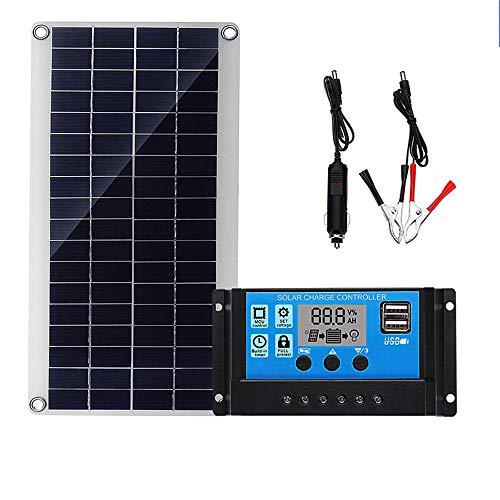 Kit solar panel solar monocristalino solar flexión panel solar fotovoltaico de alta eficiencia de conversión 12V 24V LCD controlador, 10W/10A