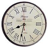 Seju, orologio da parete, 30,5cm, silenzioso, in legno, per salotto, camera da letto, cucina, corridoio, stile vintage/country/retrò/francese, rotondo, funzionamento a batteria, francia, 12*12*0.4 inches