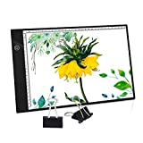 PullPritt A4 Mesas de luz Lightpad Tablero de Dibujo Ultra Delgado Caja de Luz con Brillo Ajustable para Dibujo,Artista,Animación,Bosquejo