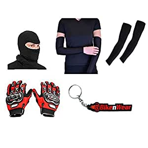 Combo For Probiker Gloves Red-L And Arms Sleeve With Face Mask & Bikenwear KeyChain