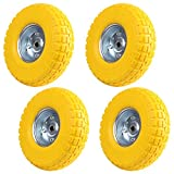 """MultiWare 10"""" Solid Rubber Tyre Wheel Sack Truck Hand Car 4 Pcs Yellow"""