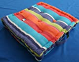 Homescapes gestreiftes Sitzkissen 50 x 50 cm Stuhlkissen Multi Stripes, Sitzerhöhung Stuhlauflage, 100% reine Baumwolle mit Polyester Füllung