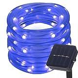 Lamker 12M 100 LED Solarlichterkette mit Lichtsensor Wasserdicht Außenlichterkette Für Hochzeit Party Garten Weihnachten Weihnachtsbeleuchtung Deko Solar Lichterkette Schlauchlicht Lichtschlauch IP55 Blau
