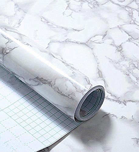Rouleau de papier adhésif en vinyle imperméable, imitation marbre gris, pour étagère (60 cm x 292 cm environ)