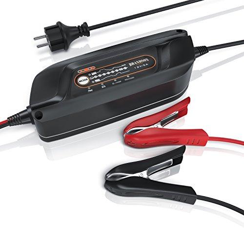 Brandson - Caricatore per Auto Max. 5 A | Caricabatteria/Mantenitore di Carica | Caricatore per Batteria | Battery Charger | per Veicoli a Motore, autovetture, Moto, Vespa Scooter