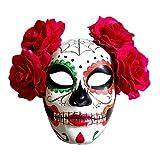 Adult Day Of The Dead Masque de squelette avec des biscuits aux fleurs Accessoire Halloween