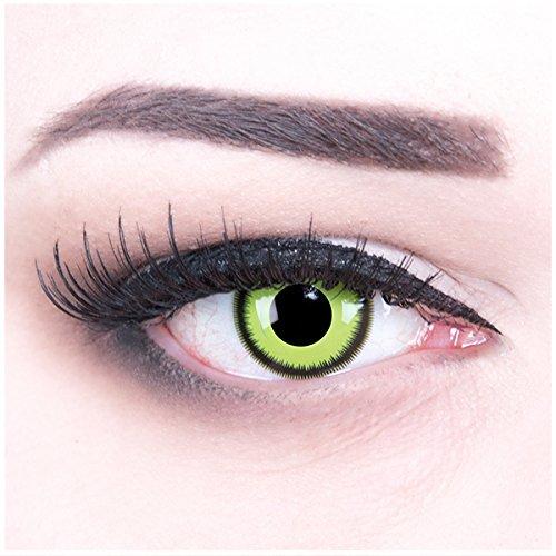 Meralens grüne Kontaktlinsen, Green Lunatic mit Pflegemittel ohne Stärke, 1er Pack (1 x 2 Stück) (Verrückter Lunatic Kostüm)