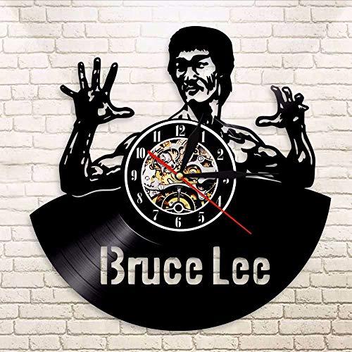 JIANGRC Vinyl Record Wall Clock 1 Pieza Vintage Kung Ku Bruce Lee De Vinilo De Led Reloj De Pared Arte De La Pared De Casa De Pub De La Oficina Sala De Juegos Lp Decoración De La Pared - Relojes De Juegos