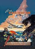 Vintage de viaje caribe con pan AM AIRWAYS y el sistema de The Vuelo Clipper 250gsm brillante Art Tarjeta A3reproducción de póster