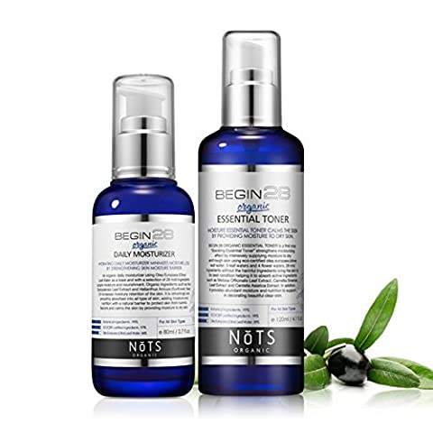 DCKR All Organic Essential Toner + Facial Moisturizer Set By Olive Leaf Extract And Natural Complex Calming - Skin Nutrition 4.1 + 2.7 Fl Oz 2P