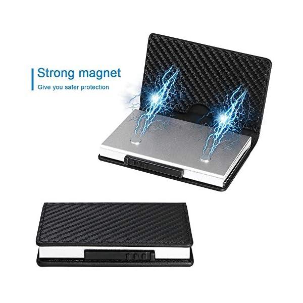 Portafoglio carte di credito metallo, URAQT Portafoglio di protezione per porta carte RFID, ladro di identificazione che… 3 spesavip
