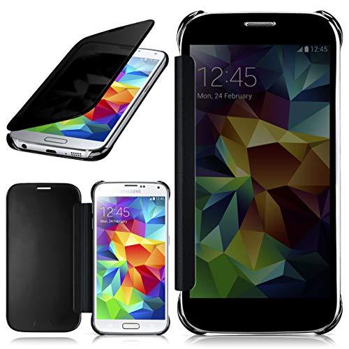 moex Samsung Galaxy S5   Hülle Transparent TPU Void Cover Dünne Schutzhülle Anthrazit Handyhülle für Samsung Galaxy S5 / S5 Neo Case Ultra-Slim Handy-Tasche mit Sicht-Fenster