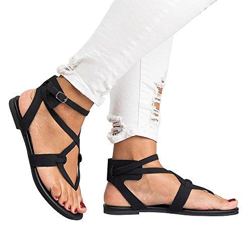 Chanclas Flip Flop Planas Mujer Sandalias Bohemias Romanas Mares Gladiador Plataforma Cuña Tacon Verano Zapatos Negro Beige 35-43 BK39