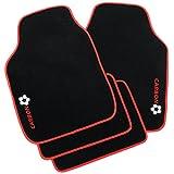 WOLTU Universal Auto Fußmatten Matten Teppich Set Carbon schwarz/rot AM7167