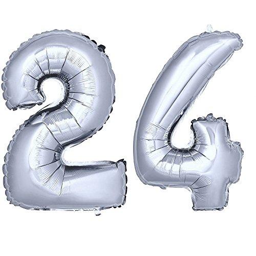 on Zahlenballon Luftballon Geburtstag Deko 80cm Zahl Silber 24 ()