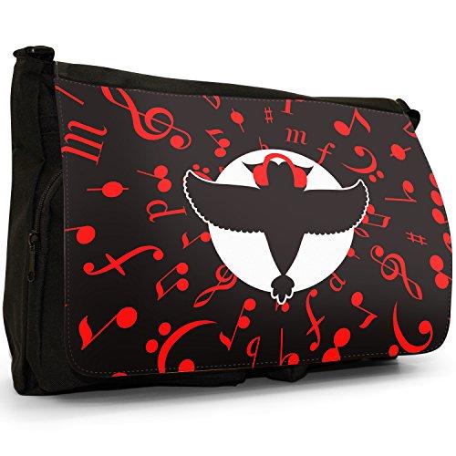 Musicale Animali Grande borsa a tracolla Messenger Tela Nera, scuola/Borsa Per Laptop Musical Owl