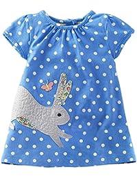 Kaily Mädchen Sommer Baumwolle Kurzarm Süß Dress T-Shirt Kleid