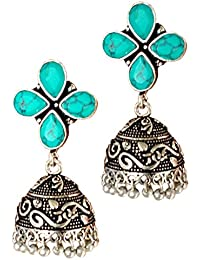 SILVER AND OXIDISED PLATED BRASS TRADITIONAL HAND MADE SMALL STYLISH JHUMKI EARRING FOR WOMEN AND GIRLS FOR PARTY...
