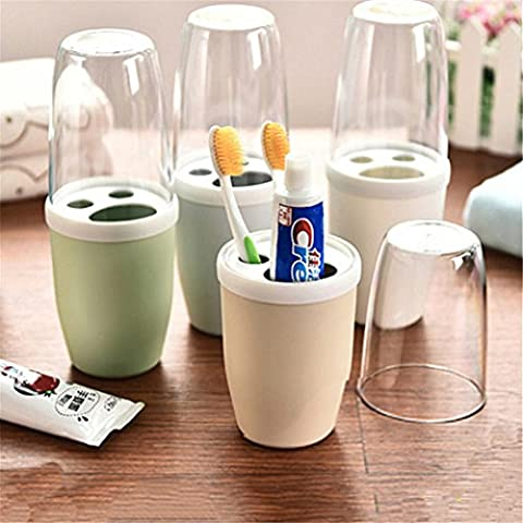 Toothbrush Toothpaste Holder for Travel With Cover,Plastic Toothpaste Holder Couple Bathroom Organizer Cover Protect Case Box Cup(1PC,colour random)