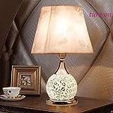 XQY Haushalts-Tischlampe, Nachttischlampe , Nachttischlampe Europäische Stil-Tischlampe Schlafzimmer Nachttischlampe Doppelschalter Dimmbare Glasfernbedienung Kleine Lampe Schreibtischlampe , Augensc