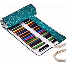 Snoogg Blanco Pequeño diseño de hojas lienzo Wrap Soporte Para Rollo de papel de 36lápices de colores, funda para bolígrafo de Gel, bolsa organizadora de viaje para artista, multiusos (lápices no incluidos), 36agujeros