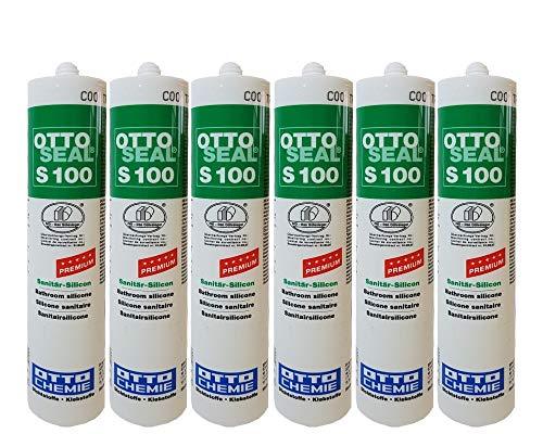 Sparset 6x Otto S100 Sanitär Fugen Silikon Bad Dusche Küche pilzhemmend und dauerelastisch 300ml sandgrau