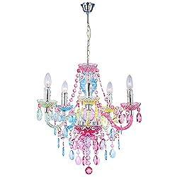 BeschreibungElegante Hängeleuchte aus Chrom und Acrylkristallen mit Regenbogenfarben.Diese aufwendig gestaltete Deckenleuchte harmoniert perfekt mit Ihrem Wunschraum, besonders originell ist diese Leuchte als Esszimmerlampe. Die fünf Strahler überze...