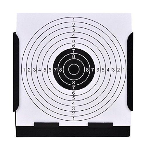 festnight 14cm Air Schießen Target Halter Softair Zielscheiben Kugelfang mit 100Papier Ziele (Trichter), Quadrat (Shooting Target-papier)