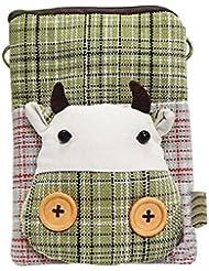 Cartoon Canvas Phone Bag Version coréenne de Lovely Girl Mini sac en tissu Veau vert
