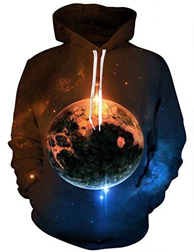 LAIDIPAS Unisex Realistische 3D Galaxy bedruckte große Taschen Drawstring Pullover Hoodie Kapuzen Sweatshirt Style 15