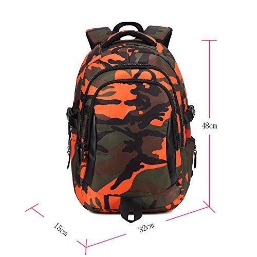 KINDOYO Jungen Mädchen Wasserdichte Rucksack für Kinder Unisex Schulrucksäcke Rucksack für Reisen, Wandern Orange-L