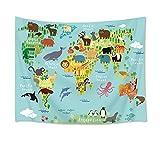 LB Carte des Animaux Ours éléphant Koala Poulpe Tortue Image Impression Tapisserie Murale Pique-Nique Plage Drap de Table Nappe Accessoire Maison 150 Largeur x 100 Hauteur cm