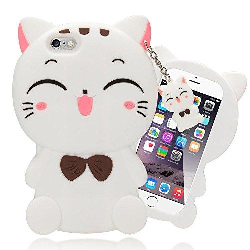 NALIA Handyhülle für iPhone 6 6S 3D, Dünnes Silikon Cartoon-Case Cover Stoßfeste Anti-Rutsch Schutz-Hülle, Backcover Handy-Tasche Bumper Phone Etui für Apple iPhone-6S 6, Designs:White Kitty