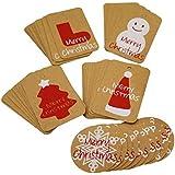 Souarts Lot de 50Pcs Mixtes Papier Kraft Etiquettes Cadeaux Balise Gift Tags Motif Chapeaux Sapin Flocon Bonhomme de Neige Bas Noël Retangle