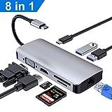 RayCue USB C Hub, Typ C Hub (8 in 1) Adapter mit 4K @ 30Hz Buchse HDMI, VGA, USB 3.0 x 2, PD Stromversorgungsanschluss, SD/TF Kartenleser