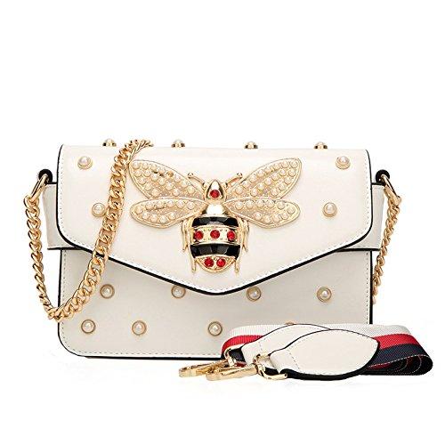 Preisvergleich Produktbild SHRJJ 2018 Sommer Mini Schnalle Handtaschen Leder Gesteppt Kette Tasche Bienen Und Perlen Mode Schulter Umhängetasche Baby Wickeltasche Mama Tasche, White-21 * 8 * 15cm