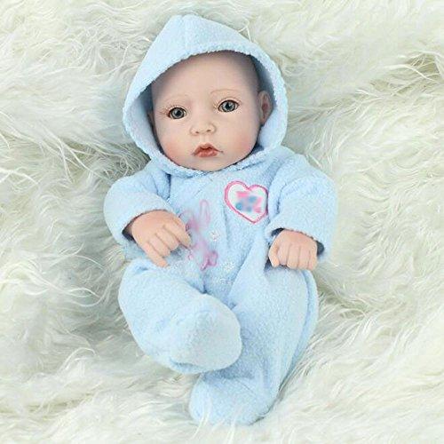 ZJX Simulation Puppe Wiedergeburt Kinder Geschenk Weichen Kunststoff Bad Puppe Baby Spielen Haus Niedlichen Spielzeug 28 cm,BlueBoy