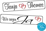 Original KFZ-Kennzeichen Hochzeit Autoschilder Hochzeitsschilder Namensschilder Wir sagen Ja 0217