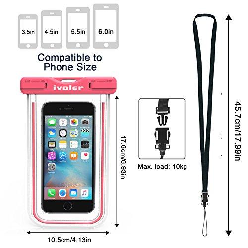 [Certifiée IPX8] Pochette étanche, iVoler Pochette Sac étanche Universel Waterproof Case Bag Housse Coque Etui pour Apple iPhone 7, 7 Plus,6s / 6, 6s Plus / 6 Plus, SE 5S 5C, Samsung Galaxy S8/S8+/S7/ Rose
