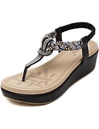 LILY999 Mujer Sandalias de Playa Verano Bohemia Cuña Plataforma Chanclas Zapatillas Adorno de Rhinestone